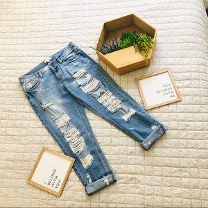 Fashion Nova ripped boyfriend jeans, size 11.